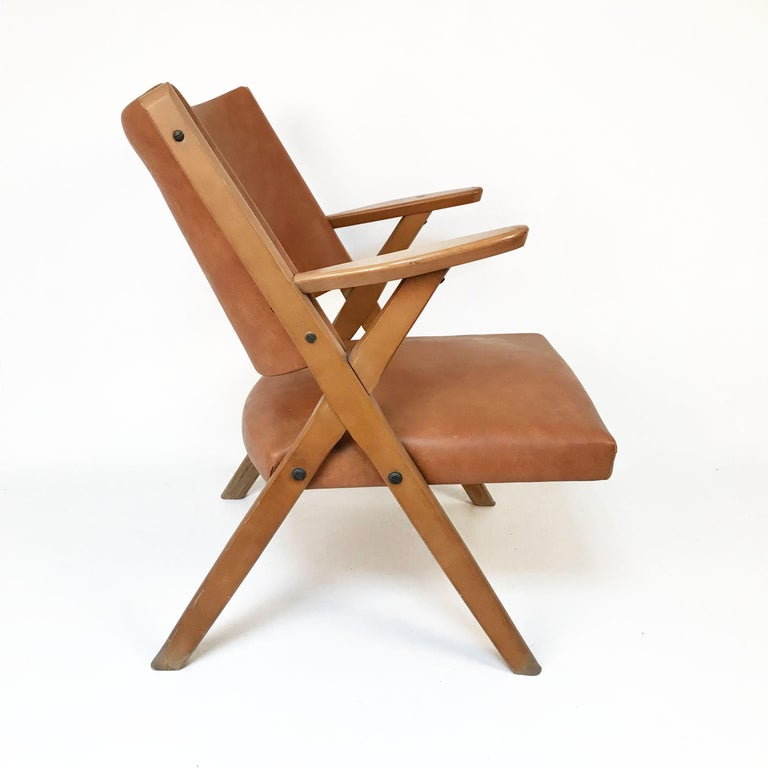 Mid-Century Modern Italian Dal Vera Easy Chair, Hans Wegner Style, Italy, 1950s In Good Condition For Sale In Roma, IT