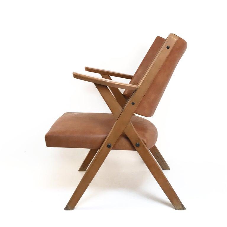Mid-20th Century Mid-Century Modern Italian Dal Vera Easy Chair, Hans Wegner Style, Italy, 1950s For Sale