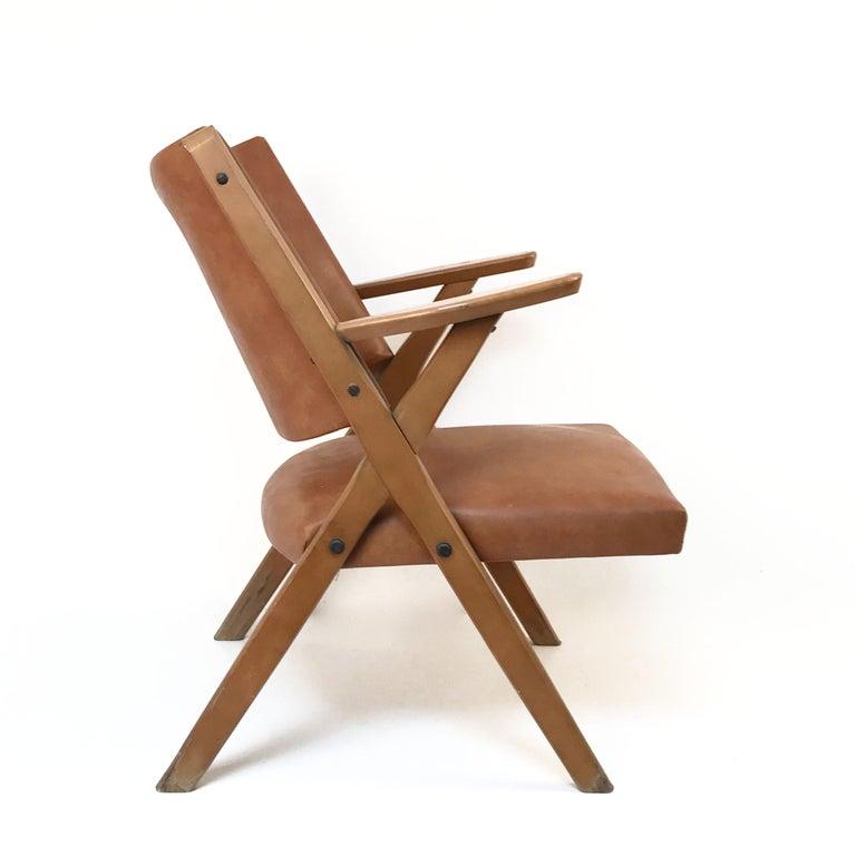 Leather Mid-Century Modern Italian Dal Vera Easy Chair, Hans Wegner Style, Italy, 1950s For Sale