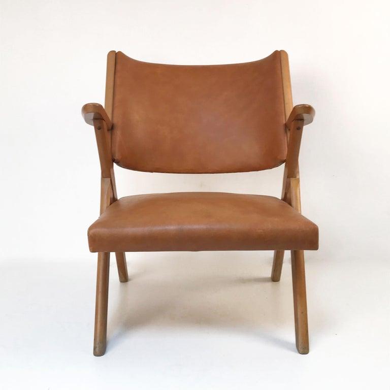 Mid-Century Modern Italian Dal Vera Easy Chair, Hans Wegner Style, Italy, 1950s For Sale 1