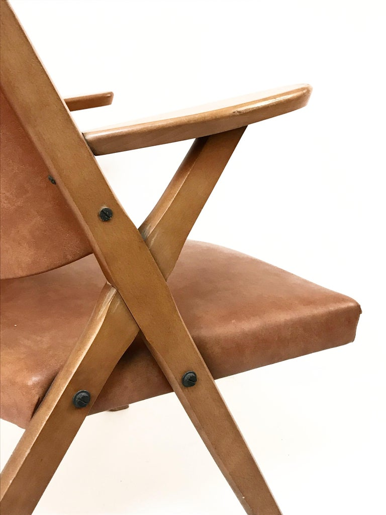 Mid-Century Modern Italian Dal Vera Easy Chair, Hans Wegner Style, Italy, 1950s For Sale 2