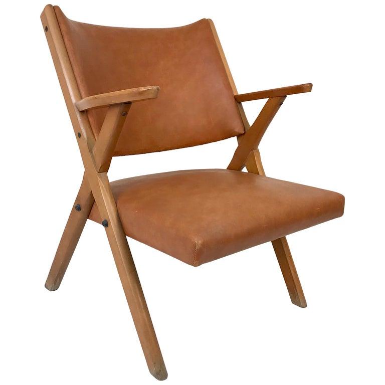 Mid-Century Modern Italian Dal Vera Easy Chair, Hans Wegner Style, Italy, 1950s For Sale