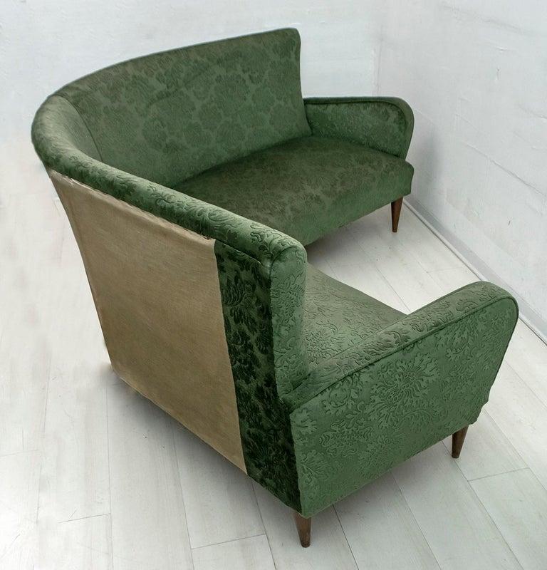 Mid-Century Modern Italian Damask Velvet Corner Sofa, 1950s For Sale 6