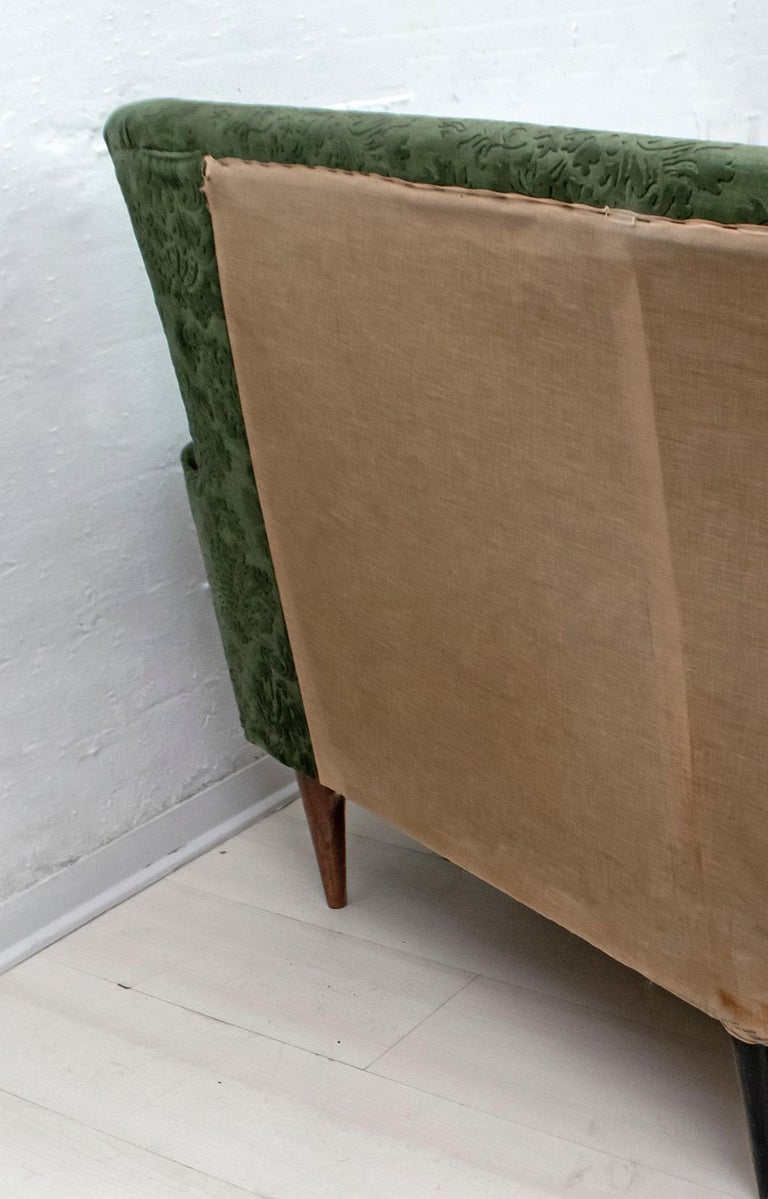 Mid-Century Modern Italian Damask Velvet Corner Sofa, 1950s For Sale 7