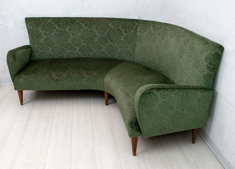 Mid-20th Century Mid-Century Modern Italian Damask Velvet Corner Sofa, 1950s For Sale
