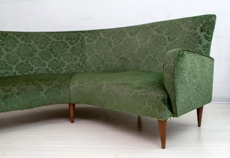 Mid-Century Modern Italian Damask Velvet Corner Sofa, 1950s For Sale 4