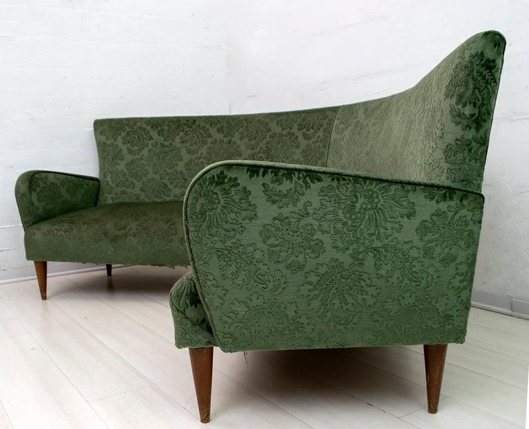 Mid-Century Modern Italian Damask Velvet Corner Sofa, 1950s For Sale 5