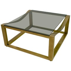 Mid-Century Modern Italian Design Brass Coffee Table, 1970s