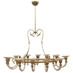 Mid-Century Modern Italian Design Chandelier Brass Opaline Glass 1950s