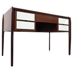 Mid-Century Modern Italian Desk, Wood and Glass, 1950s