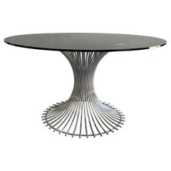 Mid-Century Modern Italian Dining or Center Chrome Table with Smoked Glass Top