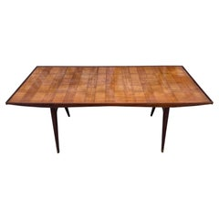 Mid-Century Modern Italian Dining Table rosewood with Glass Top Brass Feet