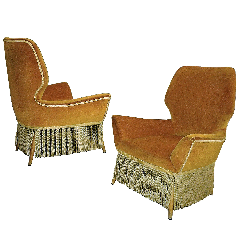 Mid-Century Modern Italian Easy Low Armchairs Designed by Luigi Saita, 1940s