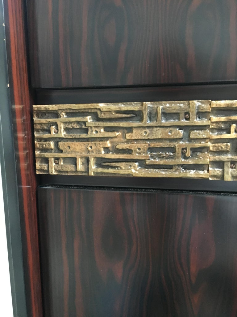 Mid-Century Modern Italian Ebony and Bronze Wardrobe by Luciano Frigerio, 1970s For Sale 8