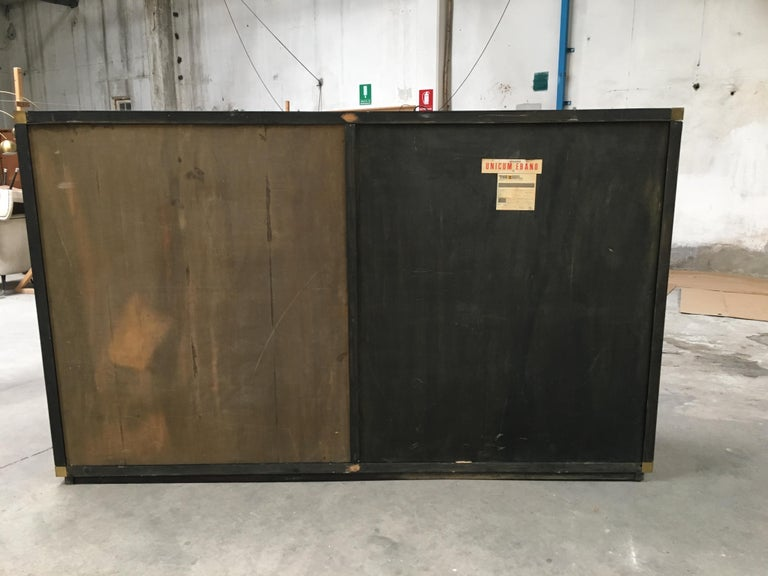 Mid-Century Modern Italian Ebony and Bronze Wardrobe by Luciano Frigerio, 1970s For Sale 11