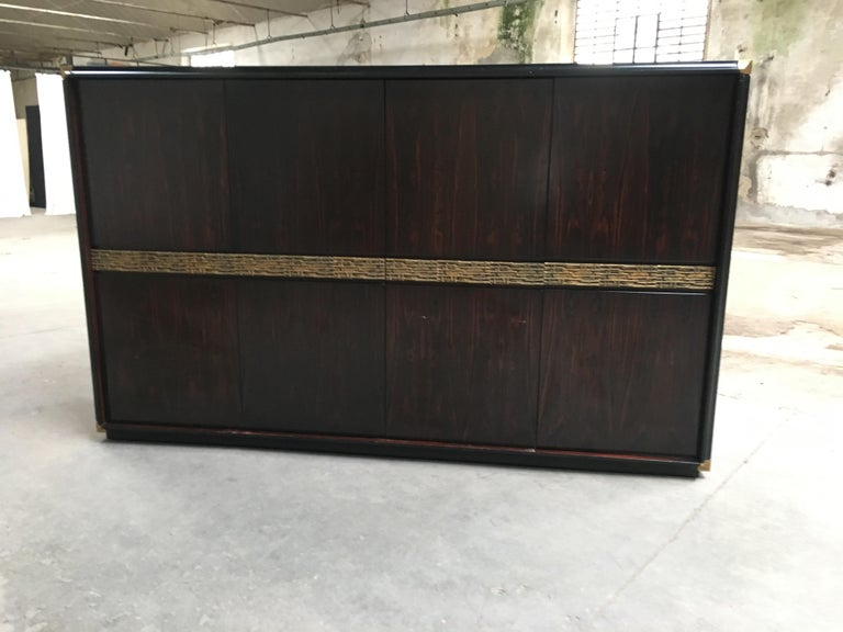 Late 20th Century Mid-Century Modern Italian Ebony and Bronze Wardrobe by Luciano Frigerio, 1970s For Sale