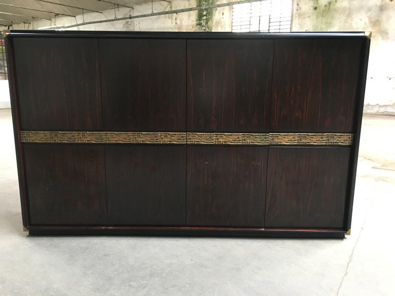 Mid-Century Modern Italian Ebony and Bronze Wardrobe by Luciano Frigerio, 1970s For Sale 1