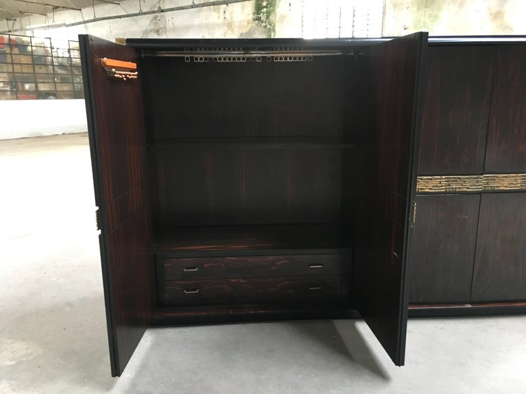 Mid-Century Modern Italian Ebony and Bronze Wardrobe by Luciano Frigerio, 1970s For Sale 2