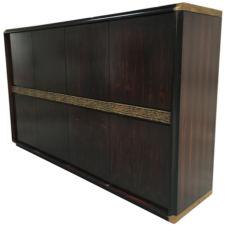 Mid-Century Modern Italian Ebony and Bronze Wardrobe by Luciano Frigerio, 1970s For Sale