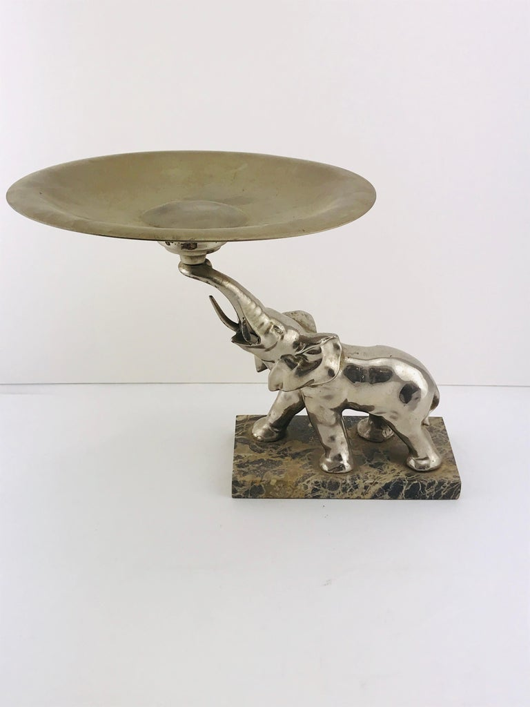 Mid-Century Modern Italian Elephant Sculpture Silver Plated and Marble, 1960s For Sale 8