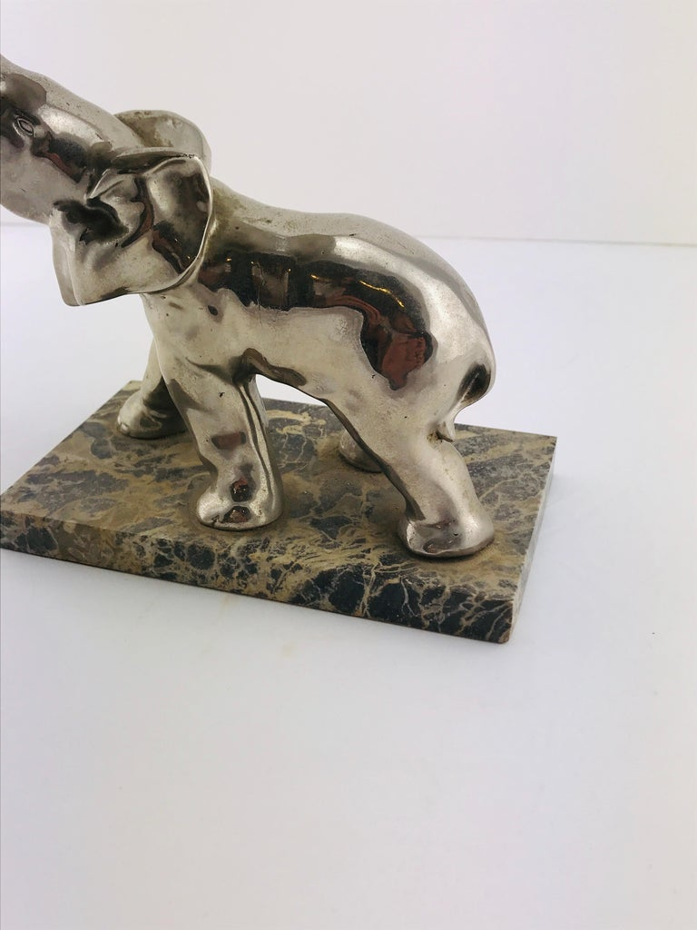 Mid-Century Modern Italian Elephant Sculpture Silver Plated and Marble, 1960s For Sale 10