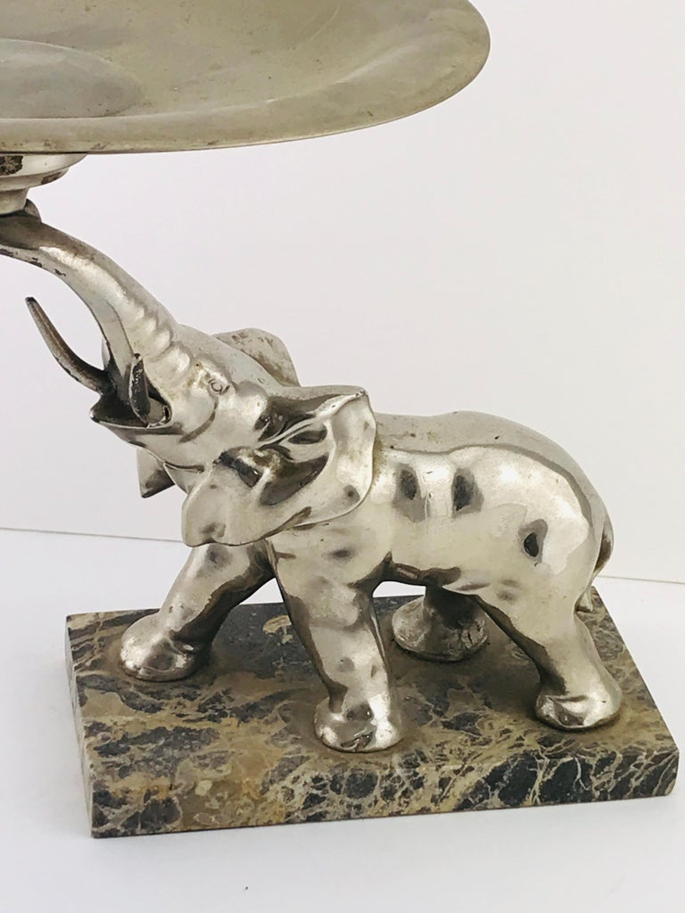 Sculpture of elephant silver plated and marble base, also can be used as holder for things like jewellery or keys, perfect for a sideboard or as decorative object.