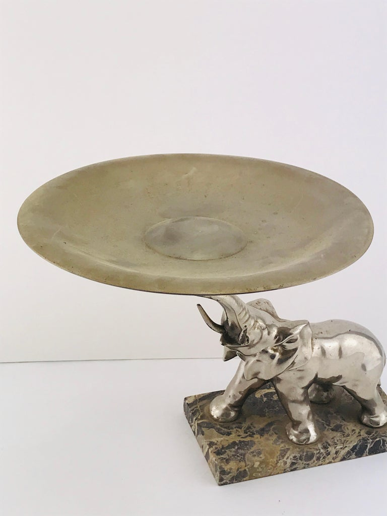 Mid-Century Modern Italian Elephant Sculpture Silver Plated and Marble, 1960s In Good Condition For Sale In Byron Bay, NSW