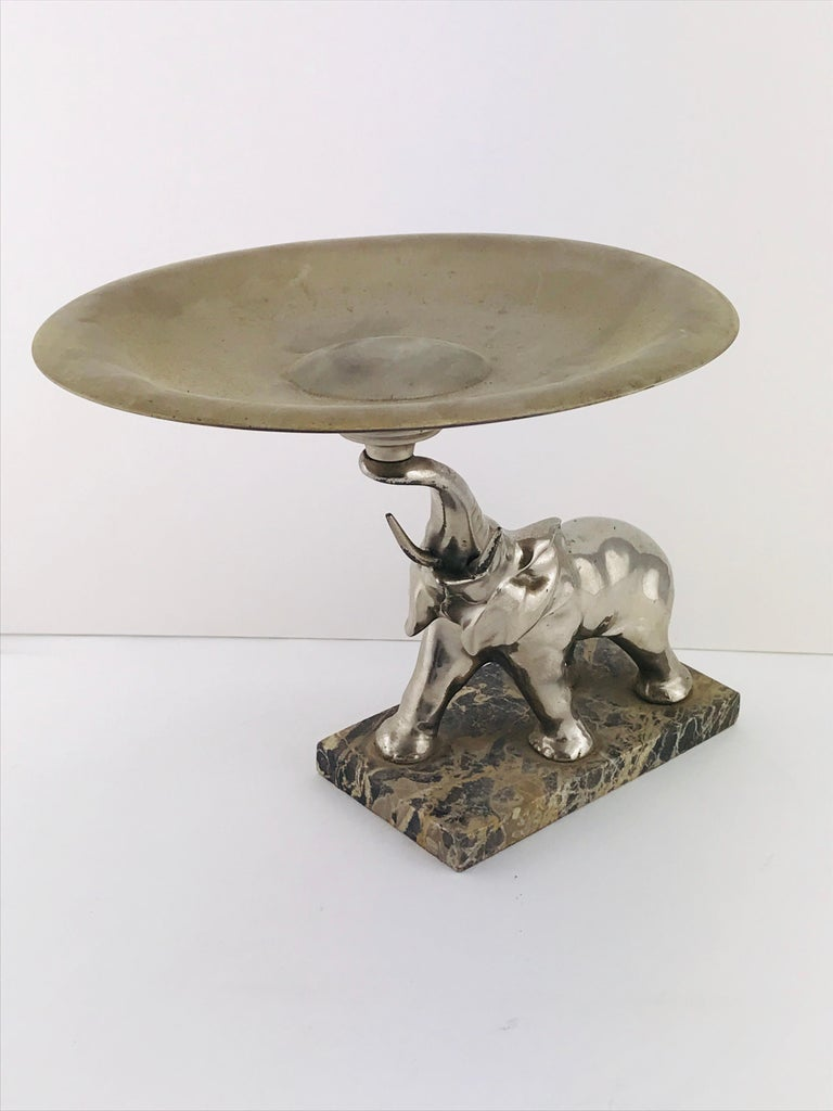 Mid-Century Modern Italian Elephant Sculpture Silver Plated and Marble, 1960s For Sale 1
