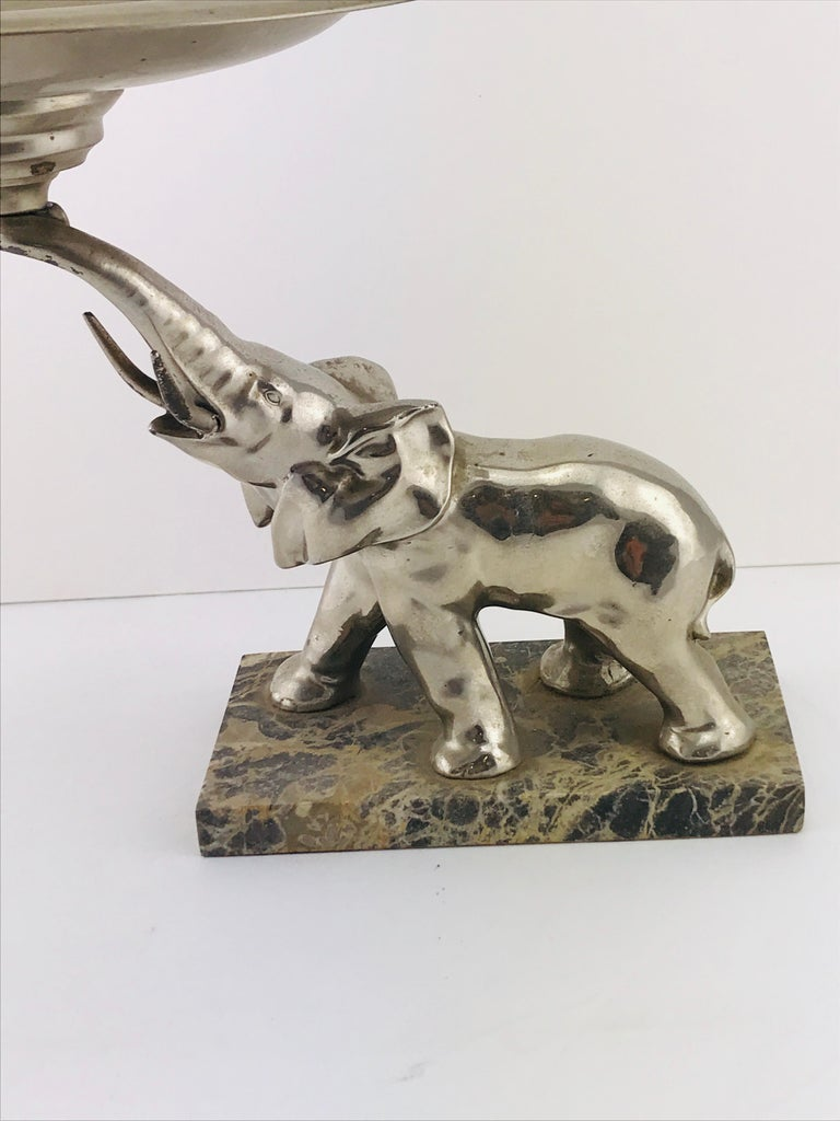 Mid-Century Modern Italian Elephant Sculpture Silver Plated and Marble, 1960s For Sale 3