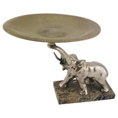 Mid-Century Modern Italian Elephant Sculpture Silver Plated and Marble, 1960s