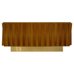 Mid-Century Modern Italian Faceted Oakwood and Brass Sideboard by L.A. Studio