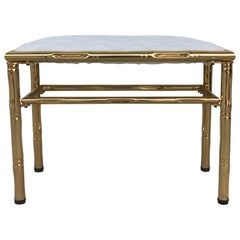 Mid-Century Modern Italian Faux Bamboo Gilt Metal Bench with White Velvet