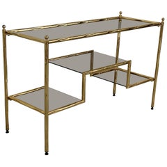 Mid-Century Modern Italian Faux Bamboo Gilt Metal Console with Smoked Glass