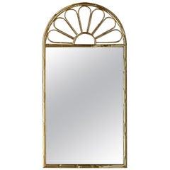 Mid-Century Modern Italian Faux Bamboo Gilt Metal Mirror