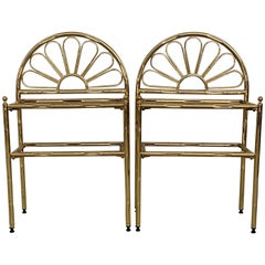 Mid-Century Modern Italian Faux Bamboo Gilt Metal NightStands with Smoked Glass