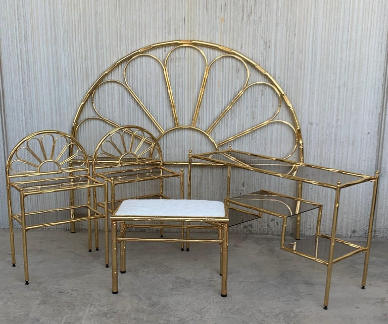 Mid-Century Modern Italian Faux Bamboo Gilt Metal Queen Headboard In Good Condition For Sale In Miami, FL