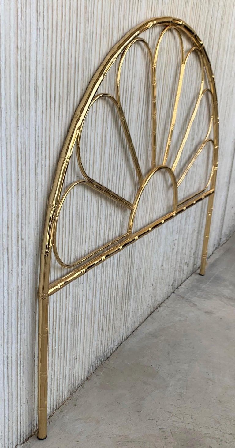 20th Century Mid-Century Modern Italian Faux Bamboo Gilt Metal Queen Headboard For Sale