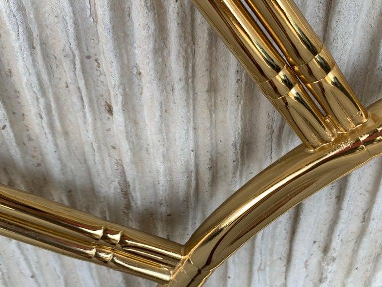 Mid-Century Modern Italian Faux Bamboo Gilt Metal Queen Headboard For Sale 2