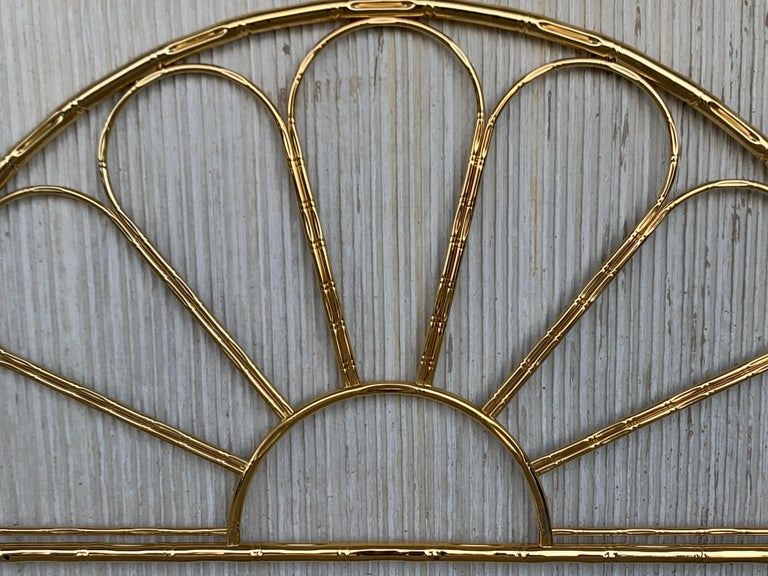 Mid-Century Modern Italian faux bamboo gilt metal queen headboard.