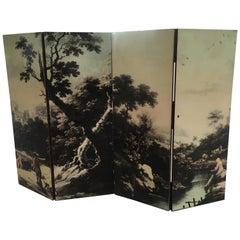 Mid-Century Modern Italian Folding Four-Panel Decorated Screen, 1960s