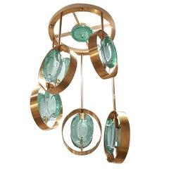 Mid-Century Modern Italian Fontana Arte Style Murano Glass and Brass Chandelier