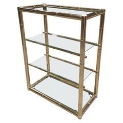 Mid-Century Modern Italian Four-Tier Gilt Metal Faux Bamboo Étagère with Glasses