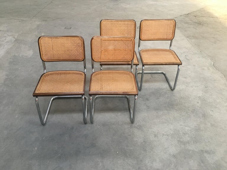 Late 20th Century Mid-Century Modern Italian Four Walnut Cesca Chairs by Marcel Breuer, 1970s For Sale
