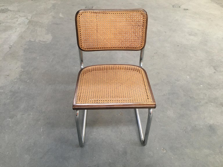 Straw Mid-Century Modern Italian Four Walnut Cesca Chairs by Marcel Breuer, 1970s For Sale