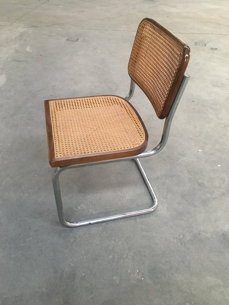 Mid-Century Modern Italian Four Walnut Cesca Chairs by Marcel Breuer, 1970s For Sale 1