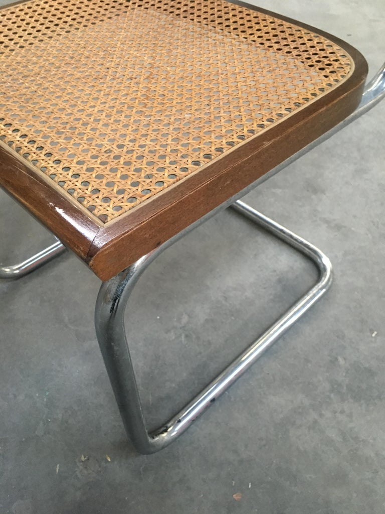 Mid-Century Modern Italian Four Walnut Cesca Chairs by Marcel Breuer, 1970s For Sale 3