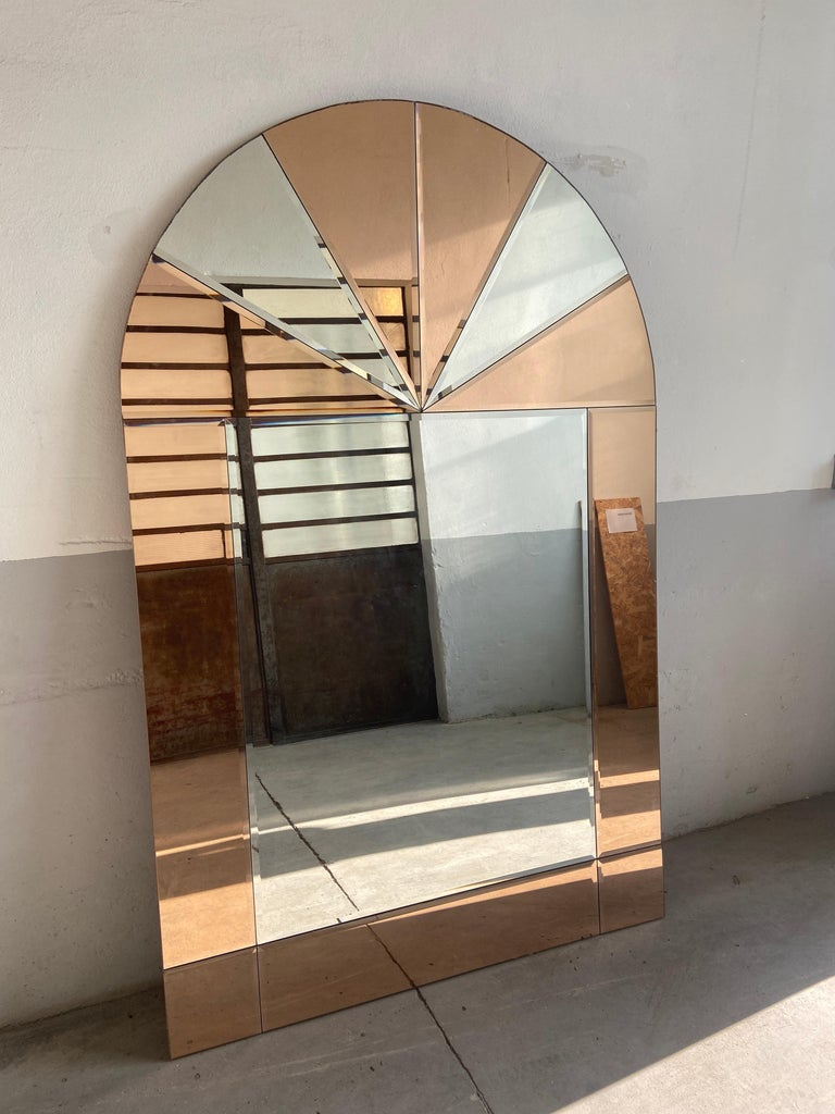 Mid-Century Modern Italian Full Length Wall Mirror with Colored Mirror Inserts For Sale 7