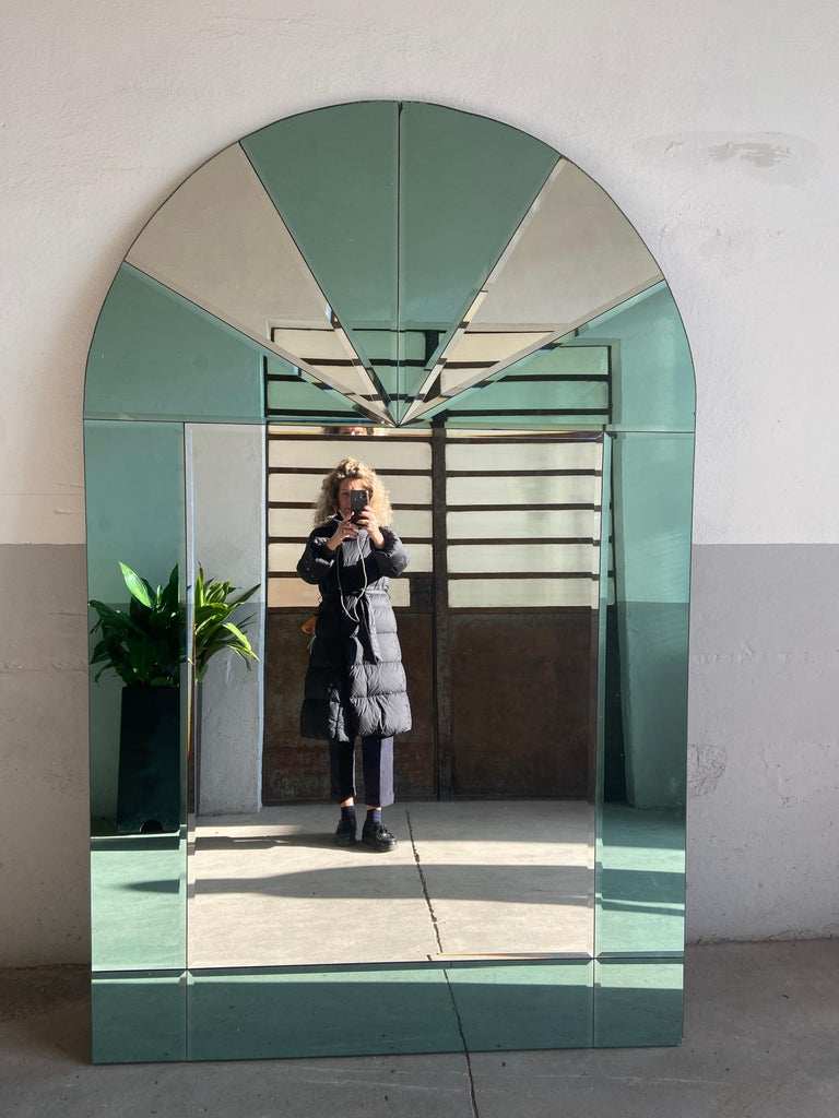 Mid-Century Modern Italian Full Length Wall Mirror with Colored Mirror Inserts In Good Condition For Sale In Prato, IT