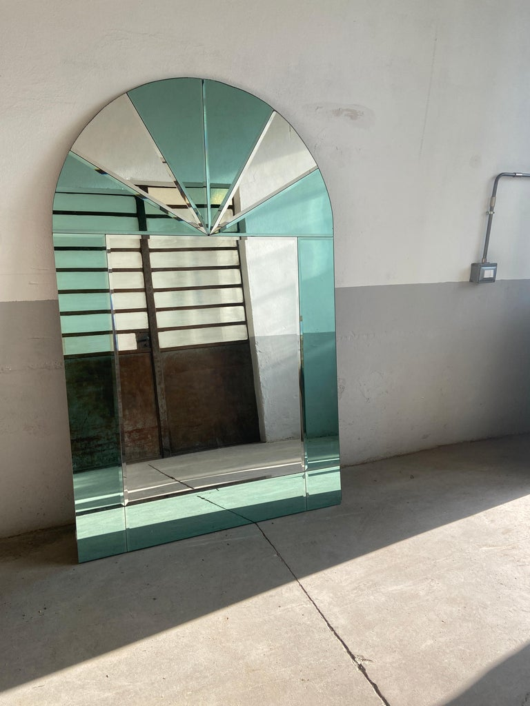 Late 20th Century Mid-Century Modern Italian Full Length Wall Mirror with Colored Mirror Inserts For Sale