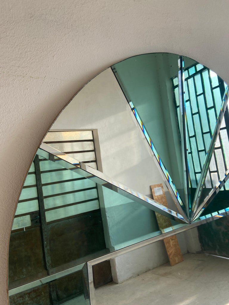 Mid-Century Modern Italian Full Length Wall Mirror with Colored Mirror Inserts For Sale 4